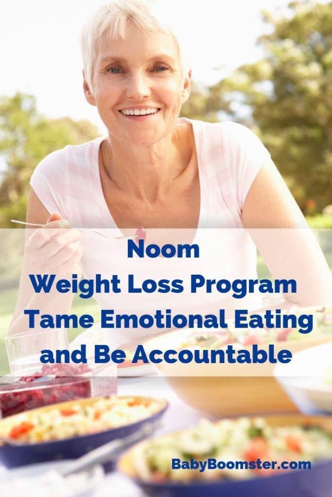 A review of the Noom weight loss program in particular how it applies to women over 50. It's an app that keeps you accountable and helps you deal with emotional eating. #ad #Noom #weightlossprogram #loseweight #womenover50 #babyboomers #midlife