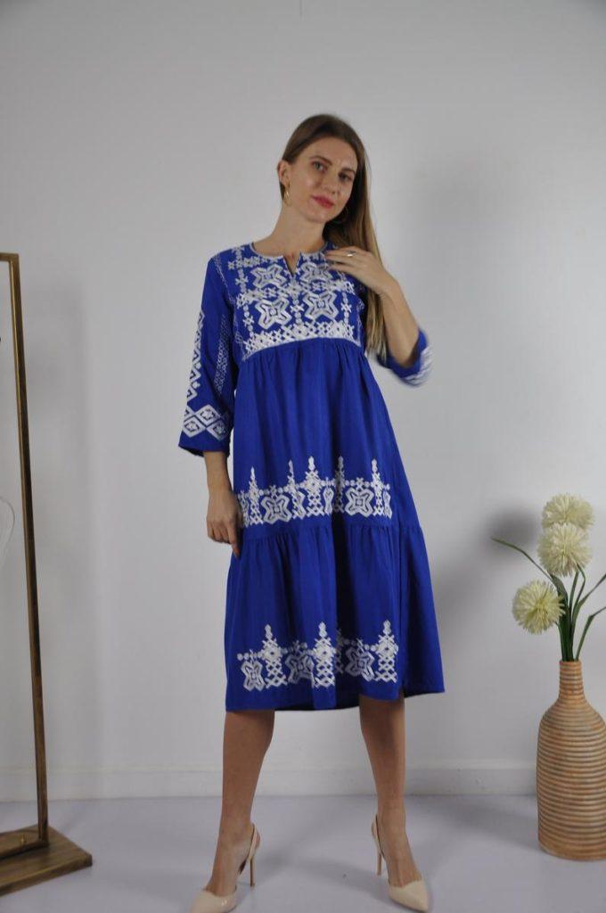 Blue Women's Tunic Dress - Boho-style