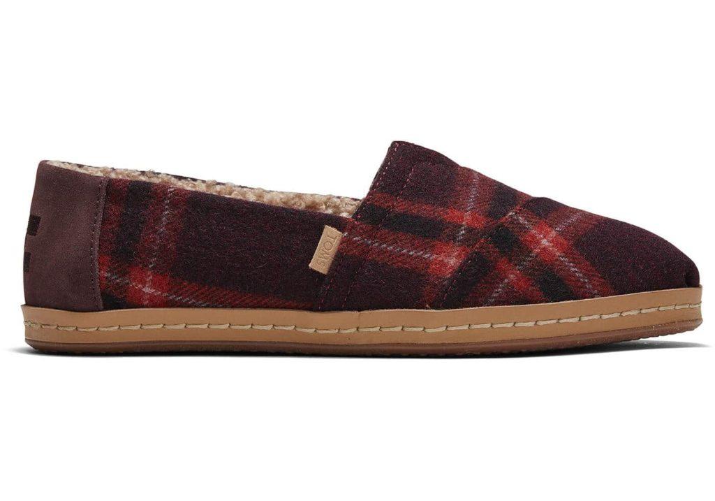 Red Plaid Leather Wrap Alpargata shoes by Toms