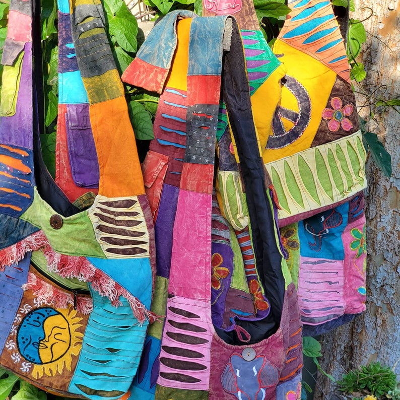 Colorful BOHO-style shoulder bags made in Nepal.