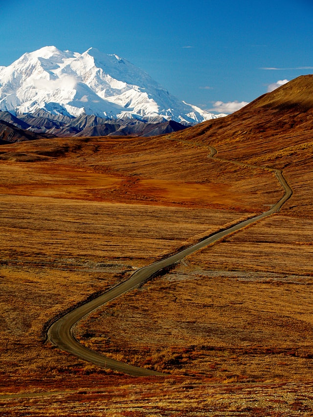Denali, Alaska one of the highest and most picturesque mountains in the US.