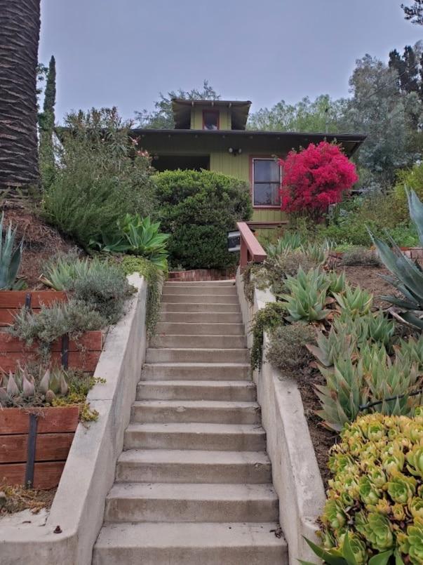 Steep steps to hillside house