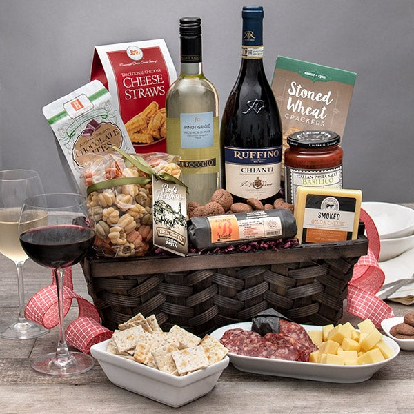 Gourmet Gift Baskets Italian Gift Basket and Wine Duo for Special Occasion Gifts